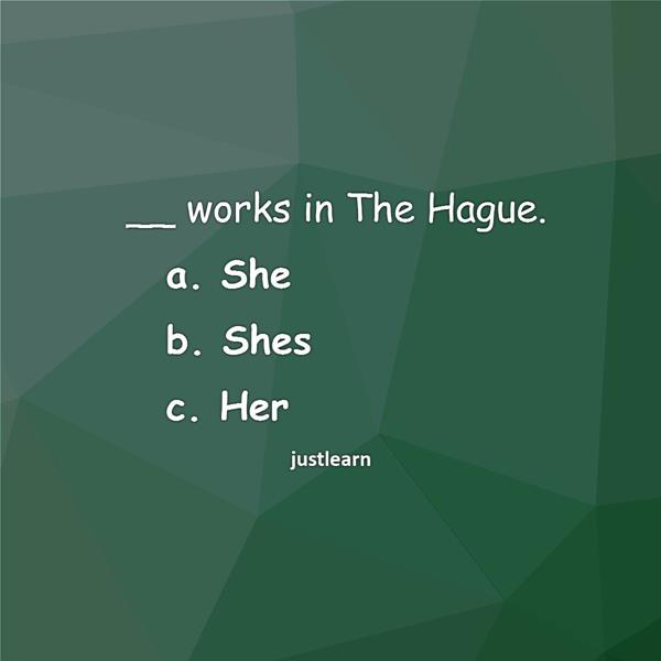 __ works in The Hague. a. She b. Shes c. Her