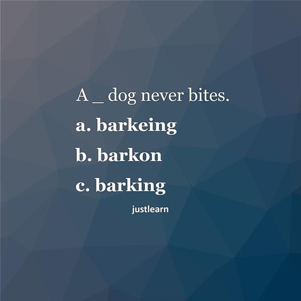 A _ dog never bites. a. barkeing b. barkon c. barking