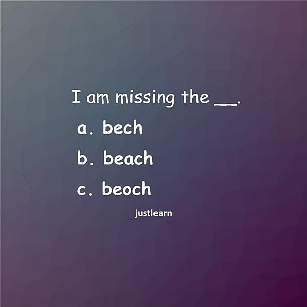 I am missing the __. a. bech b. beach c. beoch