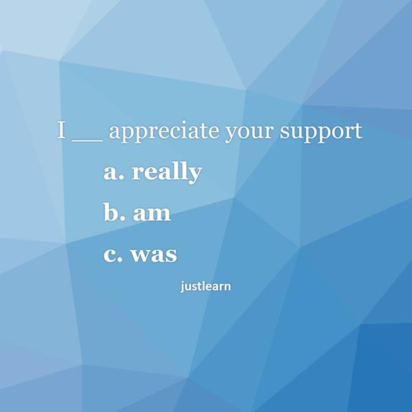 I __ appreciate your support a. really b. am c. was
