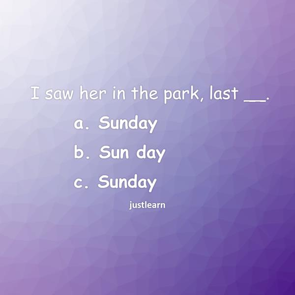 I saw her in the park, last __.