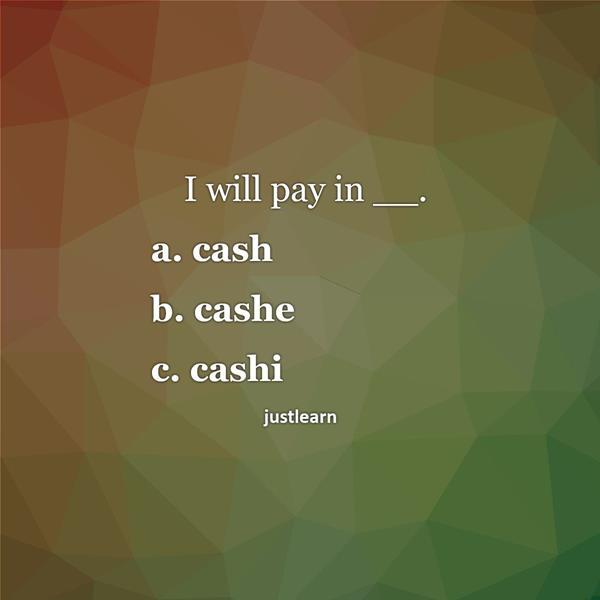 I will pay in __. a. cash b. cashe c. cashi