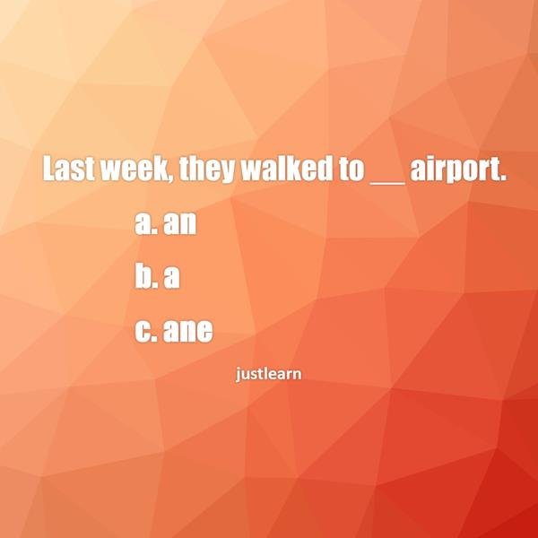 Last week, they walked to __ airport. a. an b. a c. ane