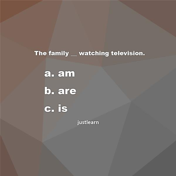 The family __ watching television. a. am b. are c. is