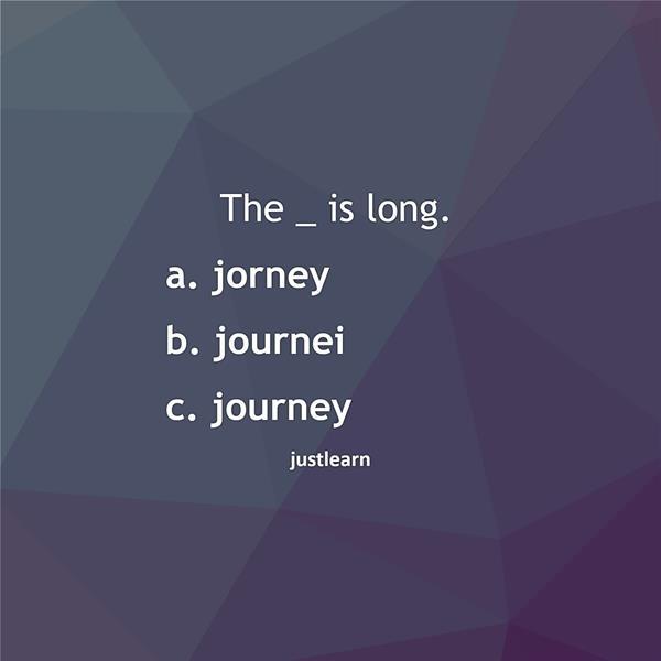 The _ is long. a. jorney b. journei c. journey