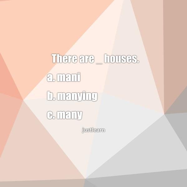 There are _ houses. a. mani b. manying c. many
