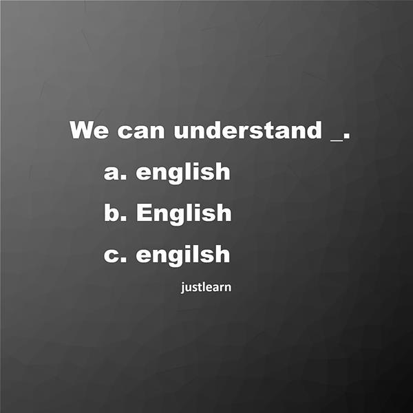 We can understand _. a. english b. English c. engilsh