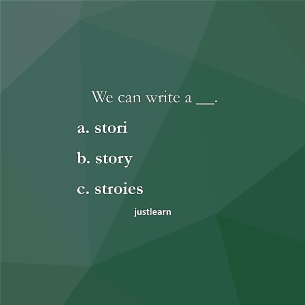 We can write a __. a. stori b. story c. stroies