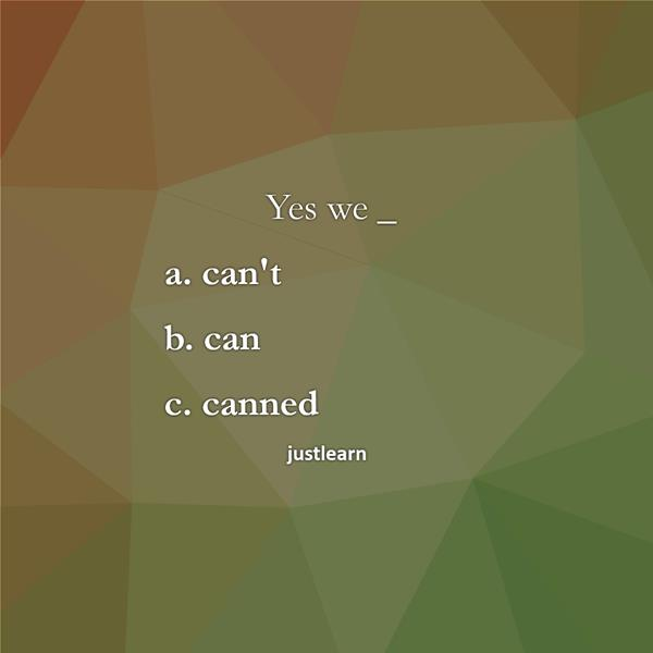 "Yes we _ a. can""t b. can c. canned"