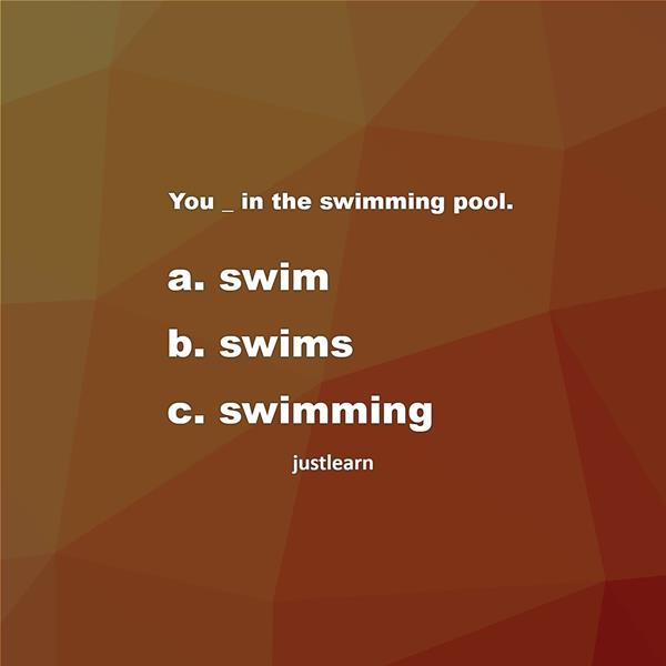 You _ in the swimming pool.