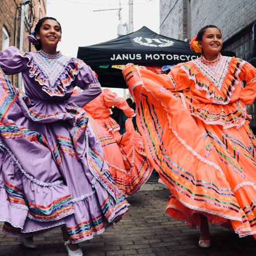 Two girls dancing the traditional Mexican dance