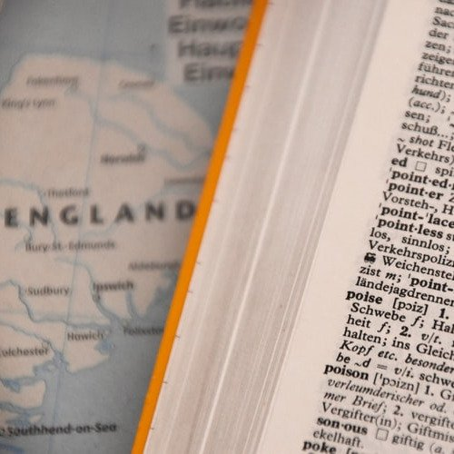 Map of England and an English dictionary